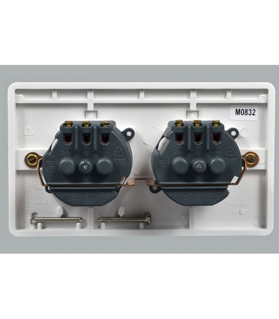 Розетка MK Electric Logic Plus, двойная, 220В, 16А, 146х86 мм