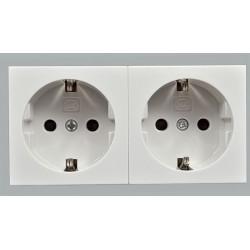 Модуль электрический двойной MK Electric, 220В, 100х50 мм, белый