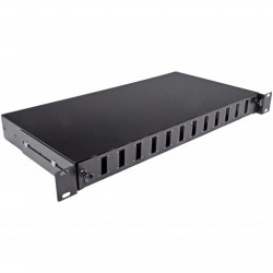 Патч-панель 24 порта 12 SCDuplex, пустая, кабельные вводы для 2xPG13.5 и 2xPG11, 1U, черная, Украина